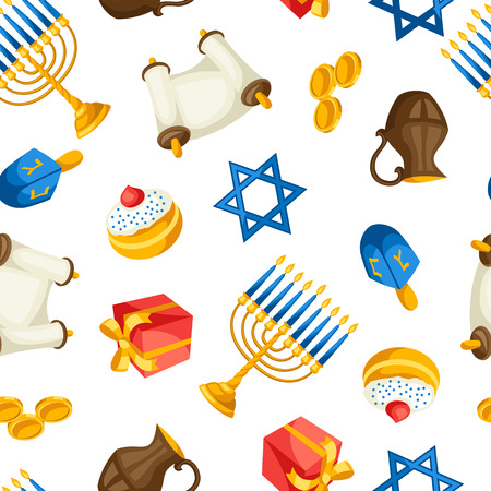 judaic: Jewish Hanukkah celebration seamless pattern with holiday objects.