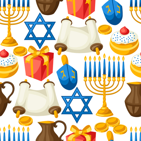 jews: Jewish Hanukkah celebration seamless pattern with holiday objects.