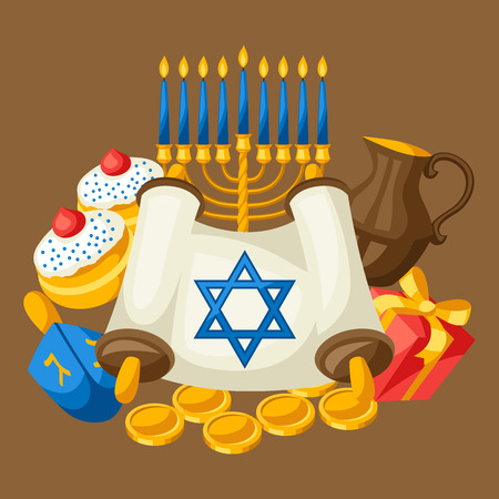 gelt: Jewish Hanukkah celebration card with holiday objects.