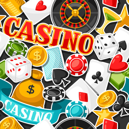 gambling game: Casino gambling seamless pattern with game sticker objects. Illustration