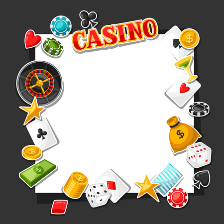 gambling game: Casino gambling background design with game sticker objects.