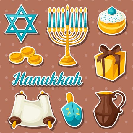 gelt: Set of Jewish Hanukkah celebration sticker objects and icons.
