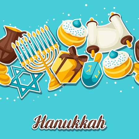 gelt: Jewish Hanukkah celebration seamless pattern with holiday sticker objects.