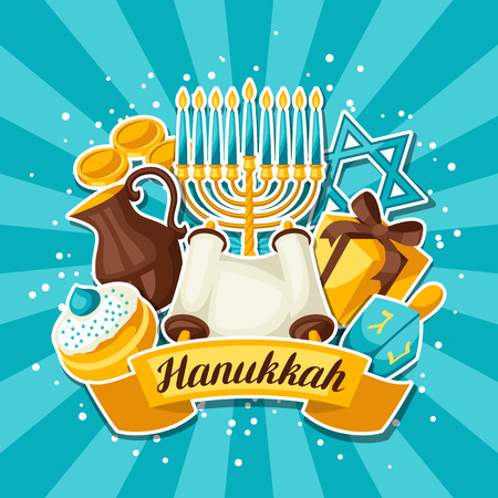 judaic: Jewish Hanukkah celebration card with holiday sticker objects.