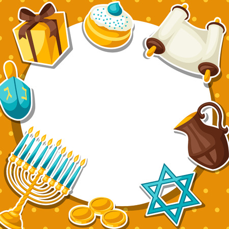 gelt: Jewish Hanukkah celebration card with holiday sticker objects.