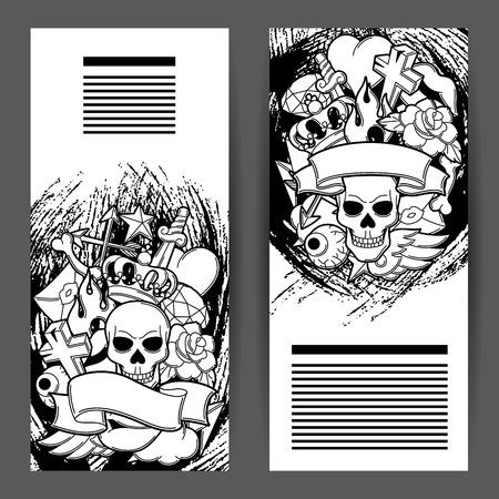Banners with retro tattoo symbols. Cartoon old school illustration.