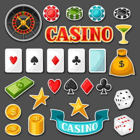 icono deportes: Set of casino gambling game sticker objects and icons.