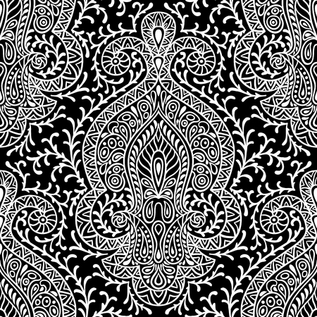 indian traditional: Indian ethnic seamless pattern with hand drawn ornament. Illustration