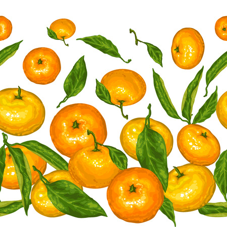 Seamless pattern with mandarins. Tropical fruits and leaves. Illustration