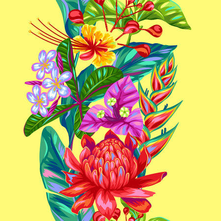 heliconia: Seamless pattern with Thailand flowers. Tropical multicolor plants, leaves and buds.