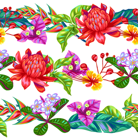 indonesia: Seamless pattern with Thailand flowers. Tropical multicolor plants, leaves and buds.