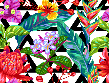 Naadloos patroon met Thailand bloemen. Tropische multicolor planten, bladeren en knoppen.