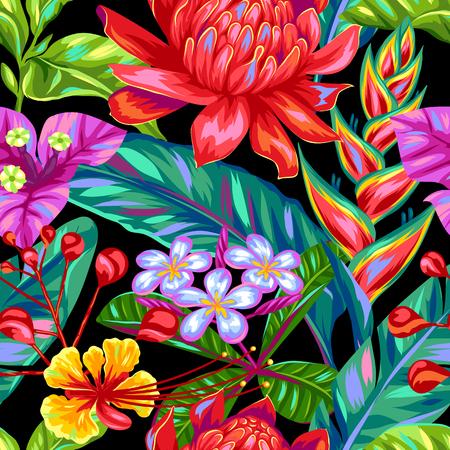Modèle sans couture avec des fleurs de Thaïlande. Plantes tropicales multicolores, feuilles et bourgeons.