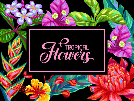 tropical tree: Invitation card with Thailand flowers. Tropical multicolor plants, leaves and buds.