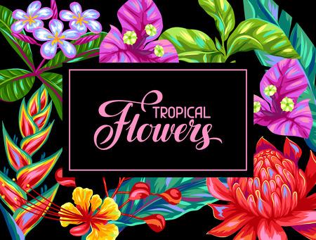 Uitnodigingskaart met Thailand bloemen. Tropische multicolor planten, bladeren en knoppen.