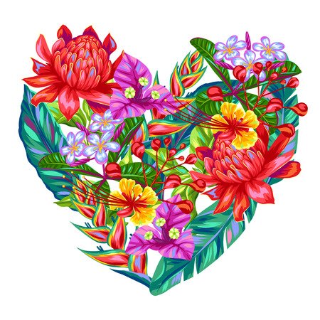Decorative heart with Thailand flowers. Tropical multicolor plants, leaves and buds. Illustration