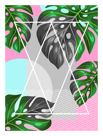 Poster with monstera leaves. Decorative image of tropical foliage. Illustration