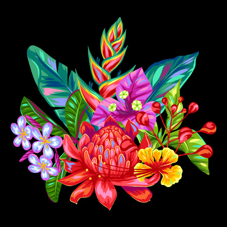 heliconia: Decorative object with Thailand flowers. Tropical multicolor plants, leaves and buds. Illustration