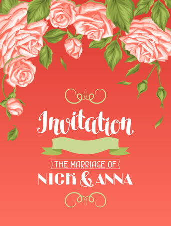 wedding bride: Wedding invitation card template with roses. Calligraphic text and vintage flowers. Illustration