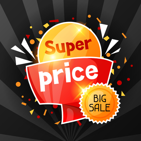 special price: Super price. Sale banner. Advertising flyer for commerce, discount and special offer. Illustration