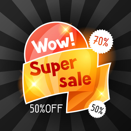 special offer: Super sale banner. Advertising flyer for commerce, discount and special offer.