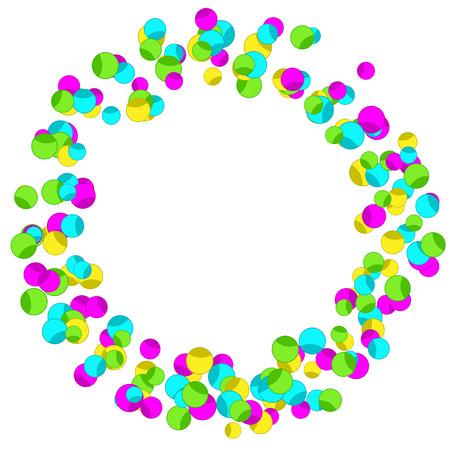 Cadre avec des confettis étincelants colorés. Anneau décoratif abstrait lumineux.