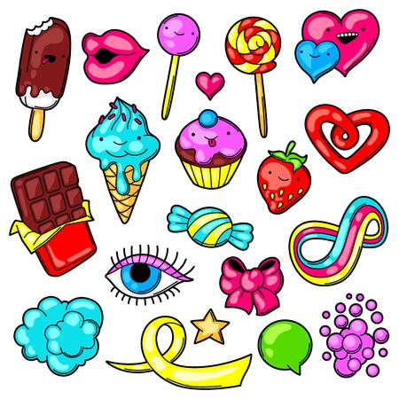 sweetstuff: Set of kawaii sweets and candies. Crazy sweet-stuff in cartoon style.