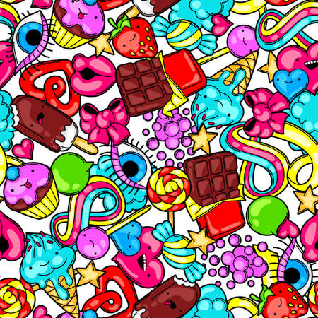 sweetstuff: Seamless pattern with sweets and candies. Crazy sweet-stuff in cartoon style.