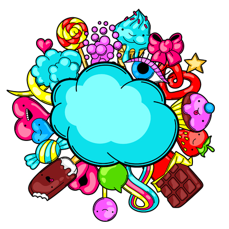 Kawaii card with sweets and candies. Crazy sweet-stuff in cartoon style. Illustration