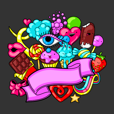 Kawaii background with sweets and candies. Crazy sweet-stuff in cartoon style. Illustration