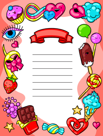 sweetmeats: Kawaii diploma with sweets and candies. Crazy sweet-stuff in cartoon style.