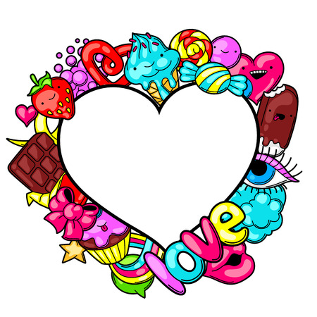 cute background: Kawaii heart frame with sweets and candies. Crazy sweet-stuff in cartoon style. Illustration