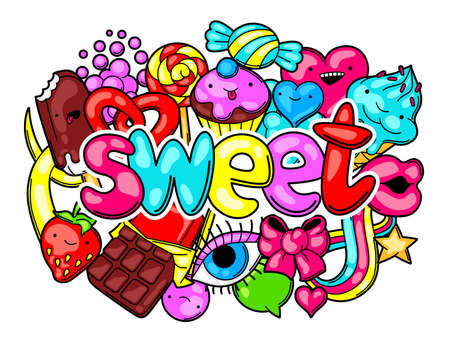 sweetstuff: Print with sweets and candies. Crazy sweet-stuff in cartoon style.