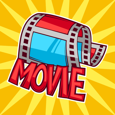 cinematograph: Cinema and movie advertising background in cartoon style.