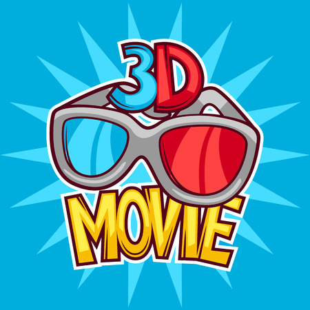 Cinema and 3d movie advertising background in cartoon style. Illustration