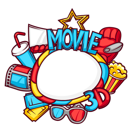 hollywood star: Cinema and 3d frame background in cartoon style.