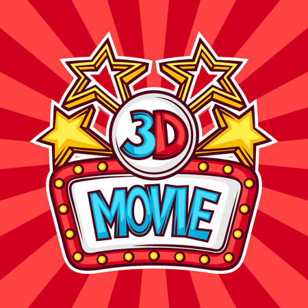 cinematograph: Cinema and 3d movie advertising background in cartoon style. Illustration