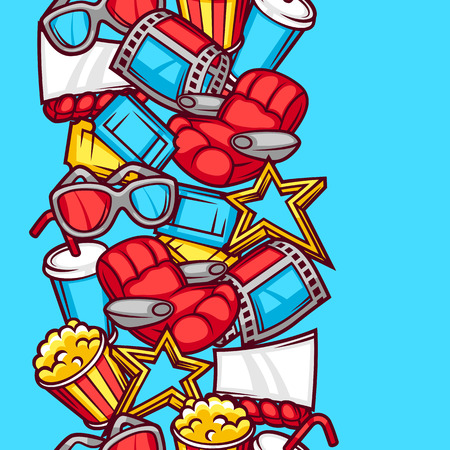 cine: Seamless pattern of 3d movie elements and cinema objects in cartoon style.