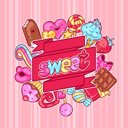 sweetstuff: Background with sweets and candies. Crazy sweet-stuff in cartoon style.