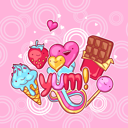 food illustration: Background with sweets and candies. Crazy sweet-stuff in cartoon style.