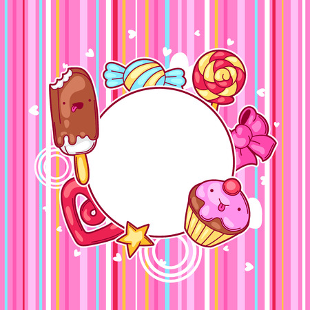 sweetstuff: Heart frame with sweets and candies. Crazy sweet-stuff in cartoon style. Illustration