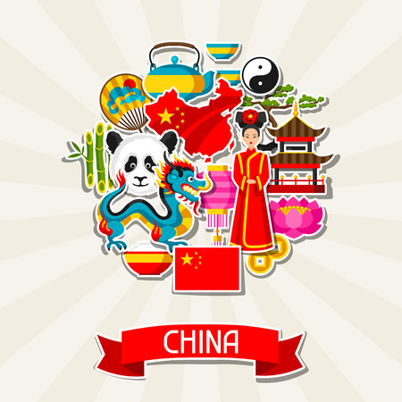 chinese fan: China background design. Chinese sticker symbols and objects.
