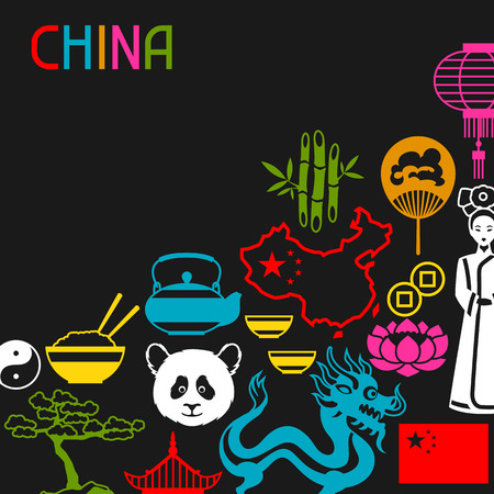 China background design. Chinese symbols and objects. Illustration
