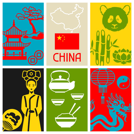 design objects: China cards design. Chinese symbols and objects.