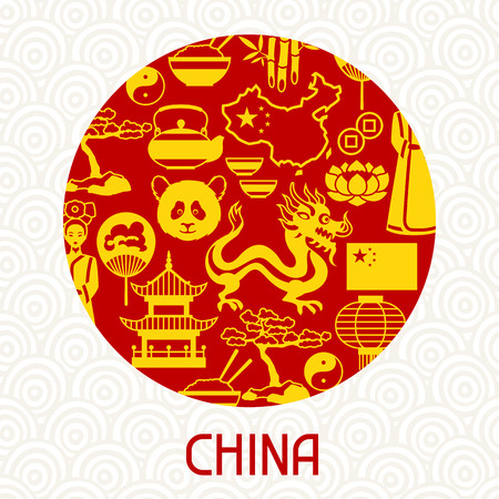 design objects: China card design. Chinese symbols and objects.
