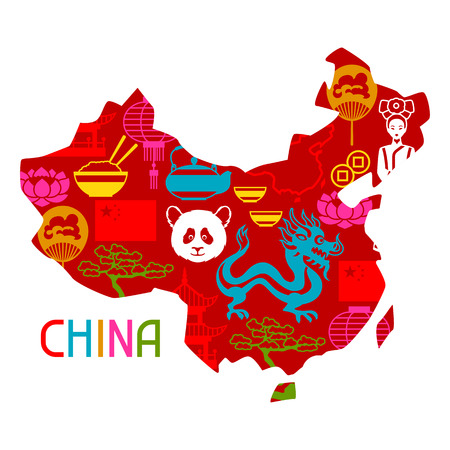 design objects: China map design. Chinese symbols and objects.