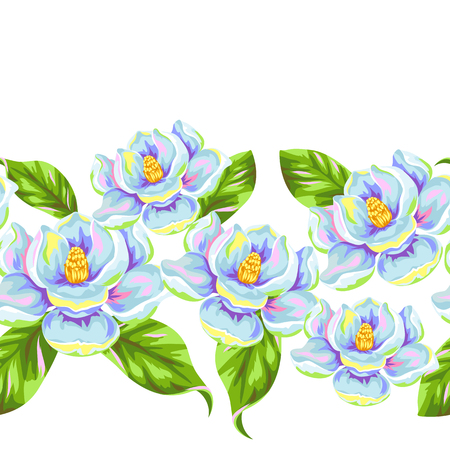 budding: Seamless pattern with magnolia flowers. Bright buds and leaves. Illustration