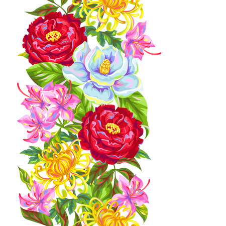 Seamless pattern with China flowers. Bright buds of magnolia, peony, rhododendron and chrysanthemum. Illustration