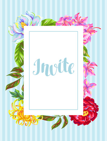 azalea: Invitation card with China flowers. Bright buds of magnolia, peony, rhododendron and chrysanthemum.