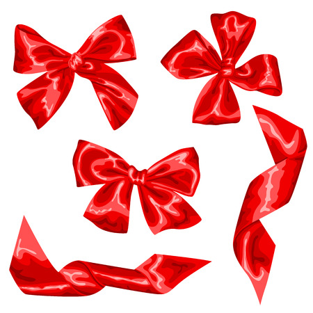 Set of red satin gift bows and ribbons.